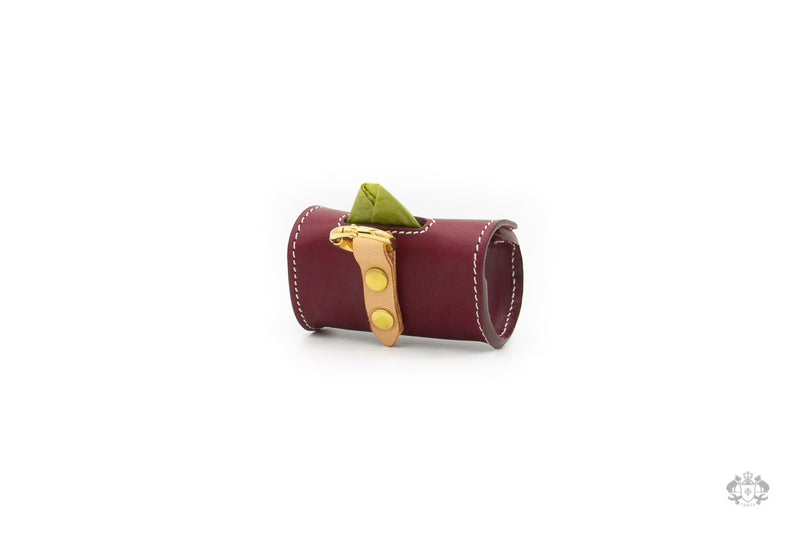 Chianti Maroon Leather Poop Bag Holder back view