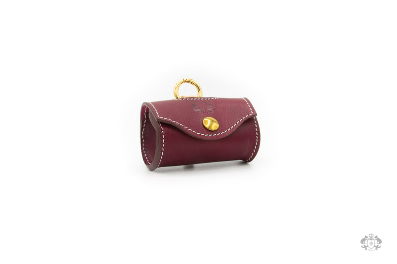 Chianti Maroon Leather Poop Bag Holder front view