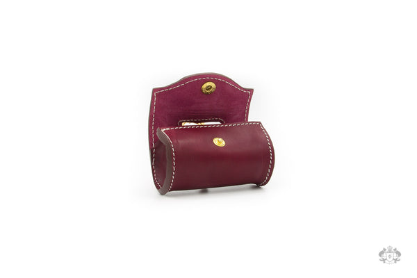Chianti Maroon Leather Poop Bag Holder open view