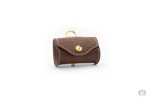 Chocolate Brown Leather Poop Bag Holder front view
