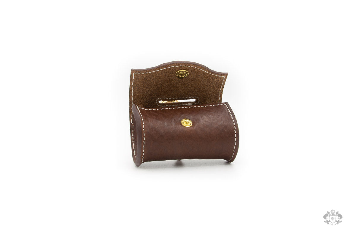 Chocolate Brown Leather Poop Bag Holder open view