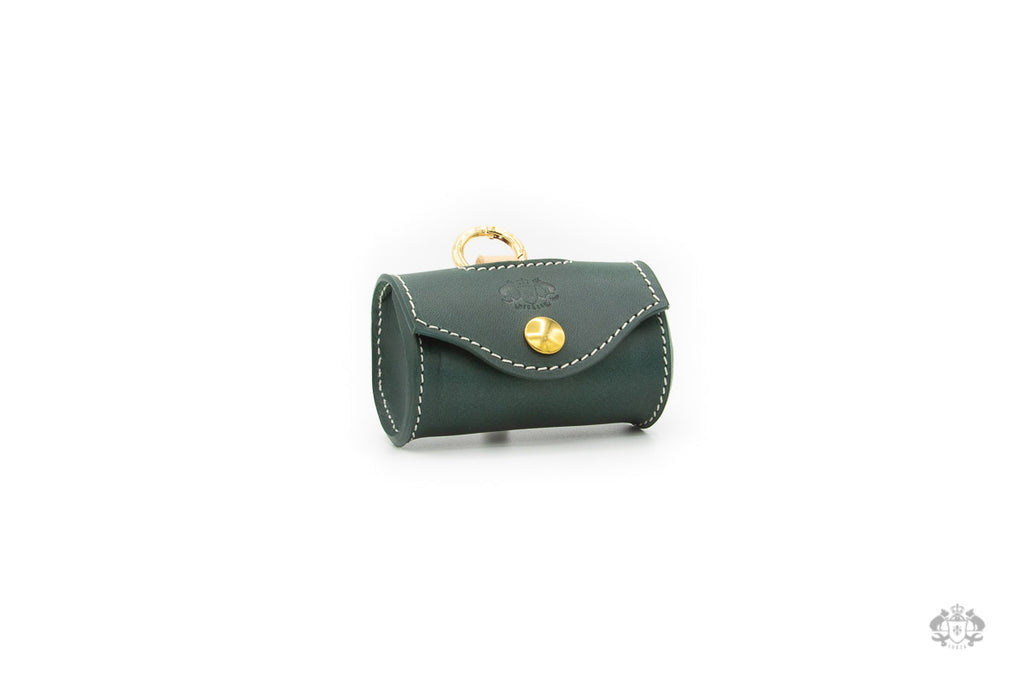 Cypress Green Leather Poop Bag Holder front view