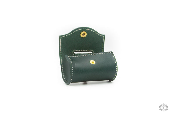 Cypress Green Leather Poop Bag Holder open view