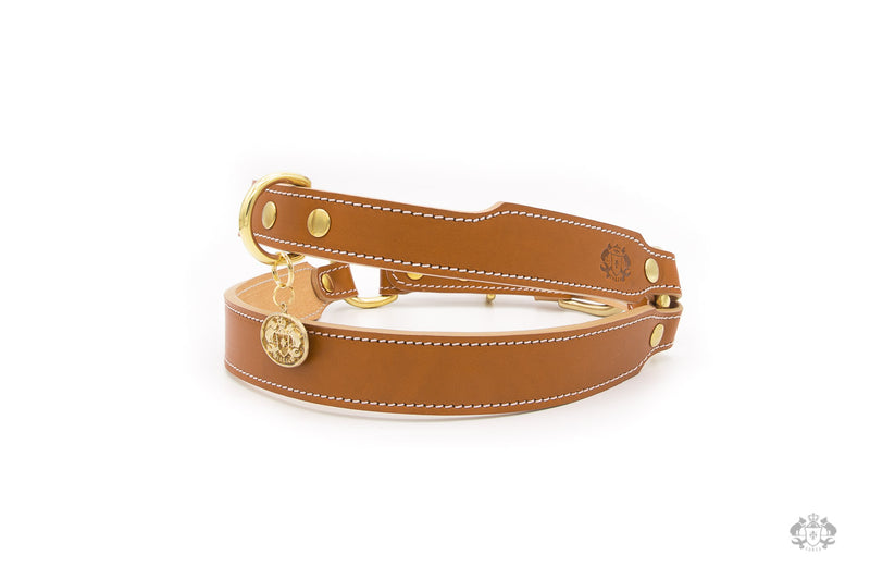 Florence Saddle Brown Leather Dog Harness