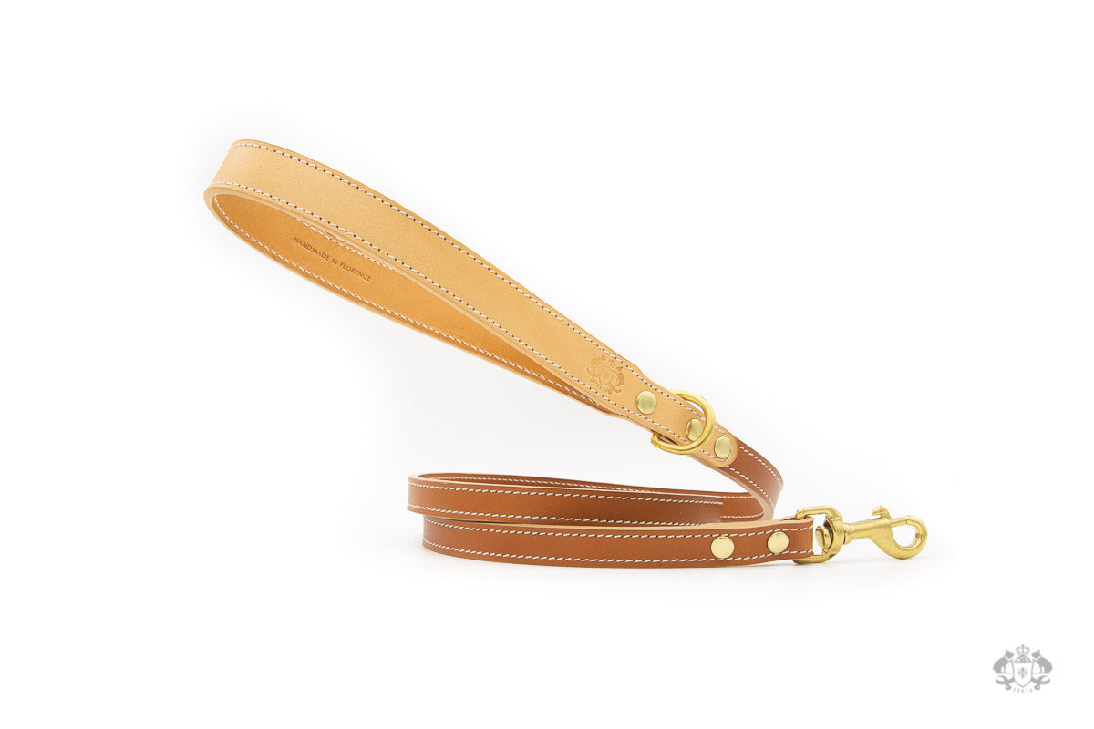 Florence Saddle Brown Leather Dog Leash front view