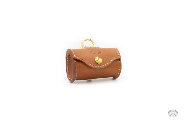 Florence Saddle Brown Leather Poop Bag Holder front view
