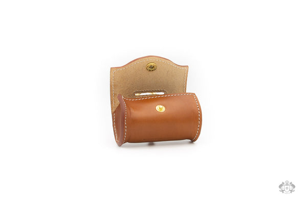 Florence Saddle Brown Leather Poop Bag Holder open view