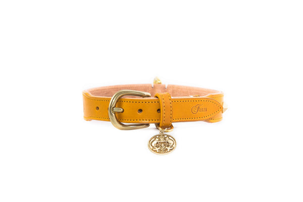 Studded Luxe Leather Collar - Sunflower