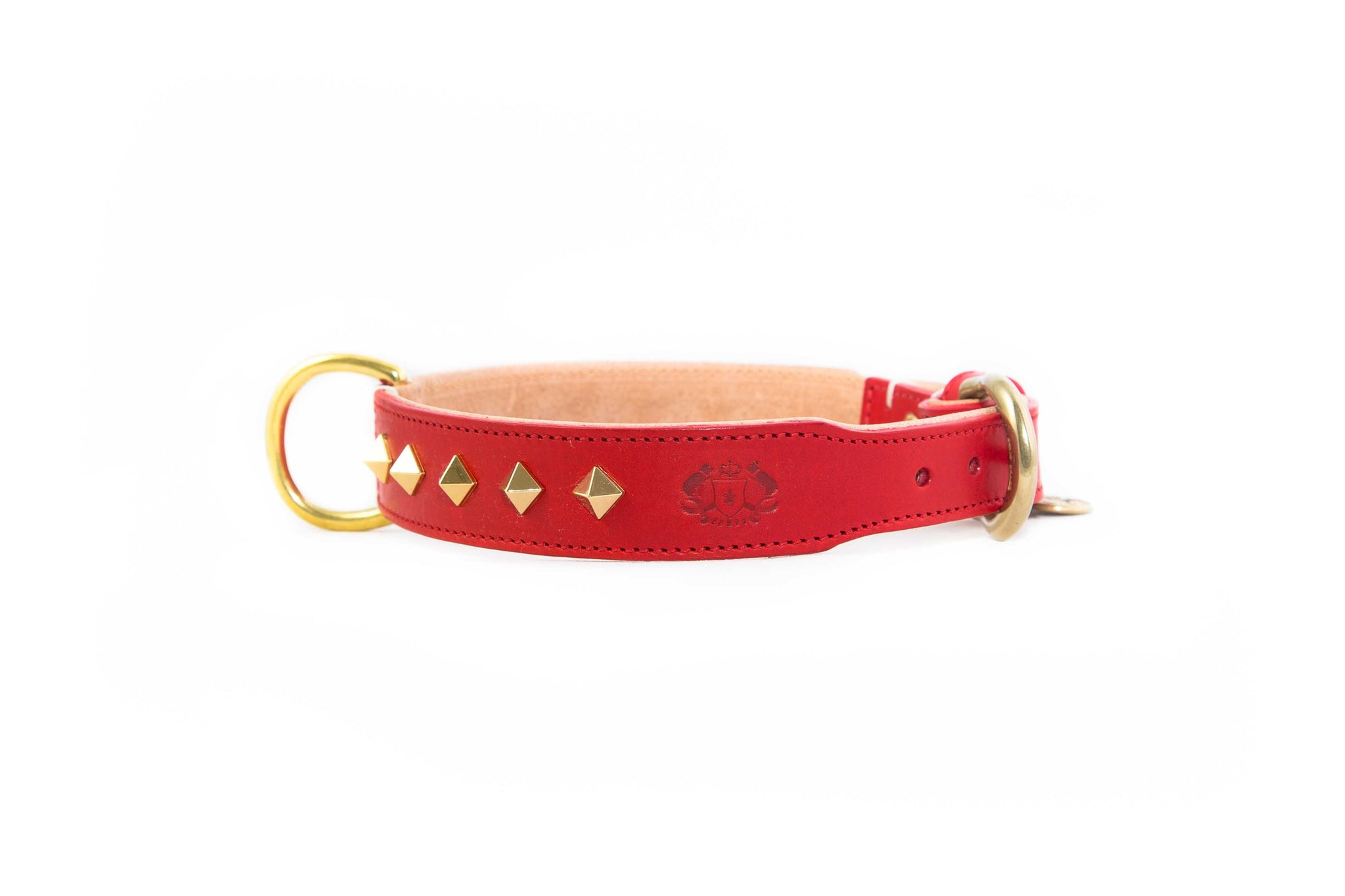Studded Luxe Leather Collar - Poppy