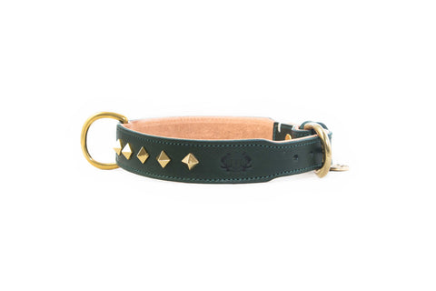 Studded Luxe Leather Collar - Cypress