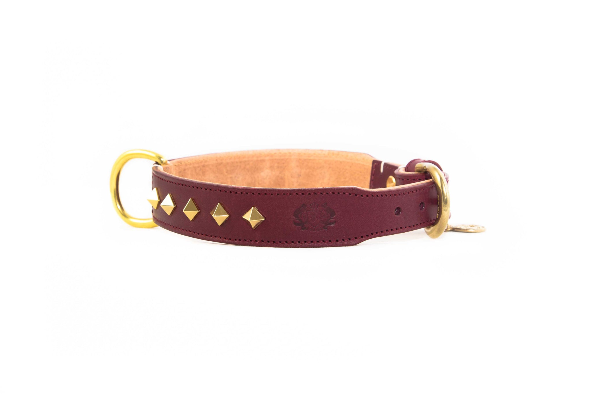 Studded Luxe Leather Collar - Wine