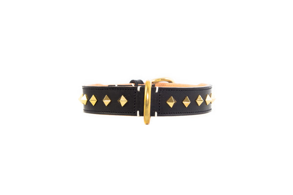 Studded Luxe Leather Collar - Nero