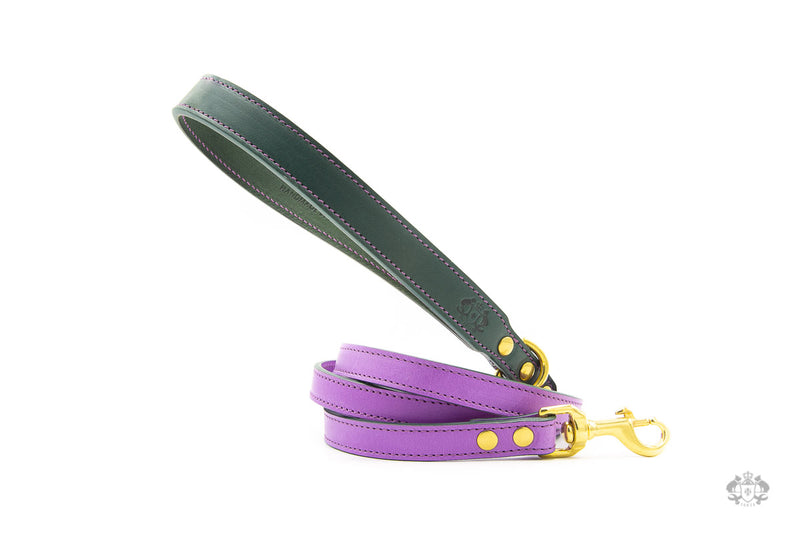 Lavender Purple Leather Dog Lead