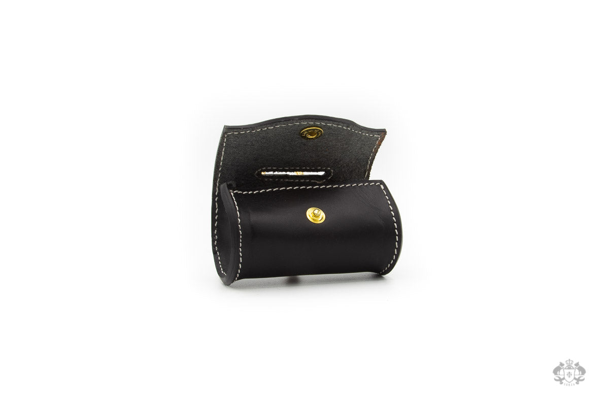 Nero Black Leather Poop Bag Holder open view