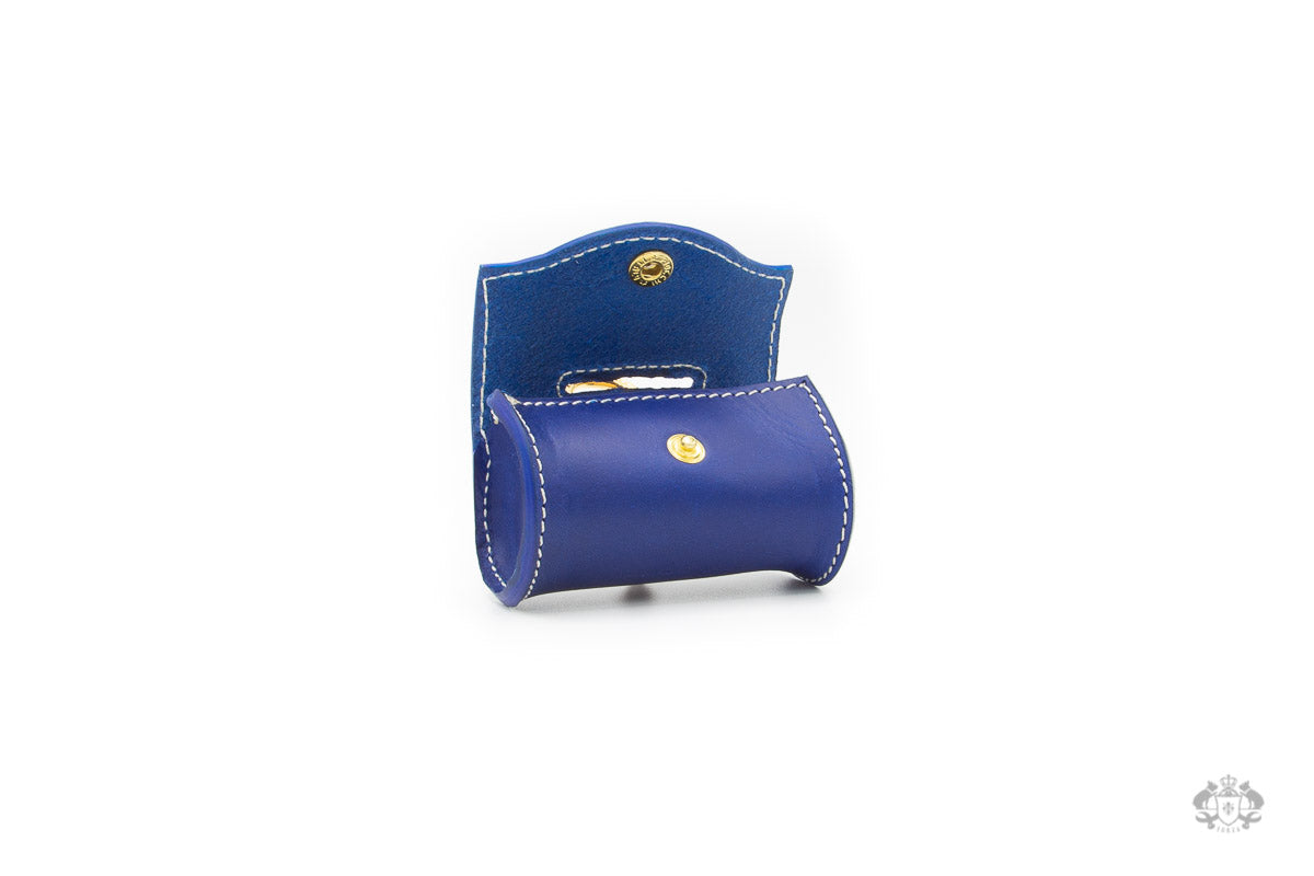 Ocean Blue Leather Poop Bag Holder open view