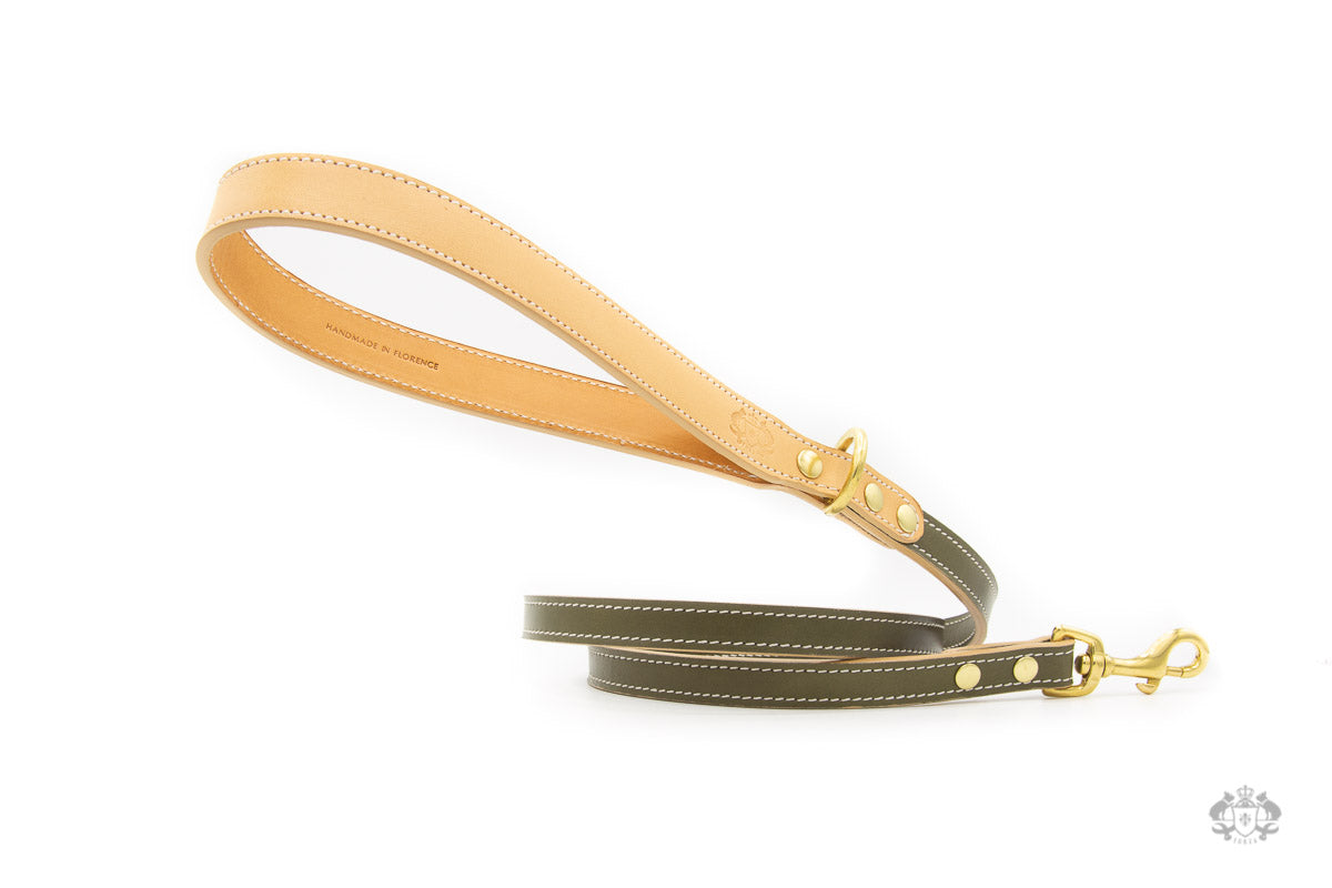 Olive Green Leather Dog Leash front view