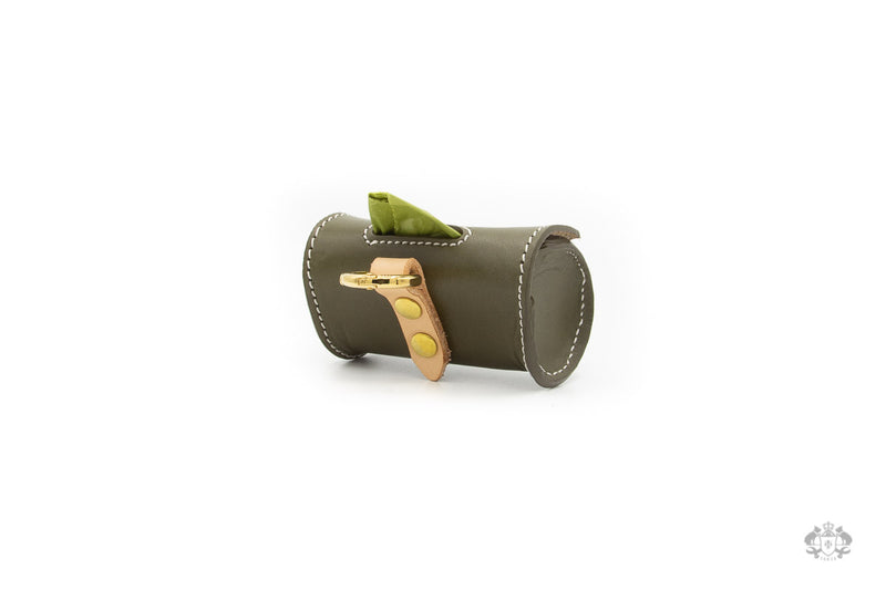 Olive Green Leather Poop Bag Holder back view