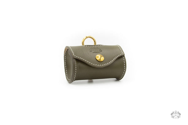 Olive Green Leather Poop Bag Holder front view