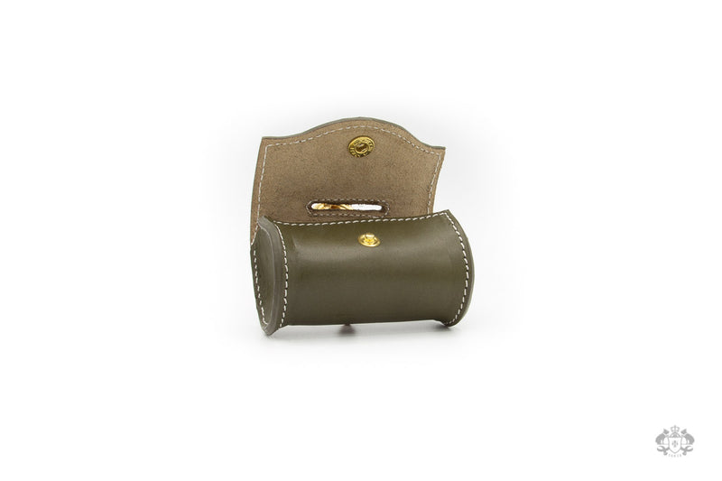 Olive Green Leather Poop Bag Holder open view
