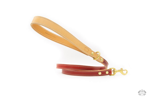 Poppy Red Leather Dog Leash front view