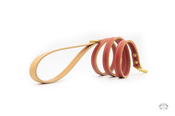 Poppy Red Leather Dog Leash side view