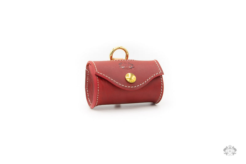 Poppy Red Leather Poop Bag Holder front view
