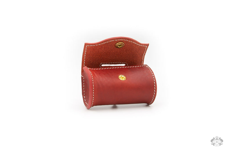 Poppy Red Leather Poop Bag Holder open view