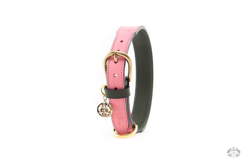 Roses Pink Leather Dog Collar
