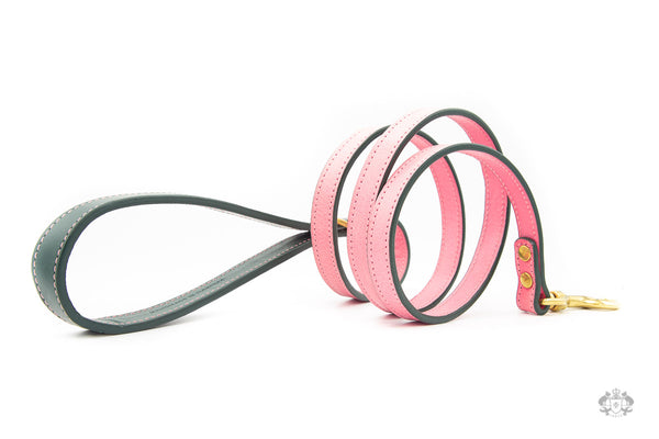 Roses Pink Leather Dog Lead