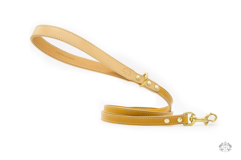 Sunflower Yellow Leather Dog Leash front view