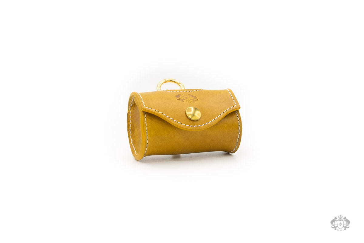 Sunflower Yellow Leather Poop Bag Holder front view