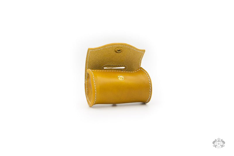 Sunflower Yellow Leather Poop Bag Holder open view