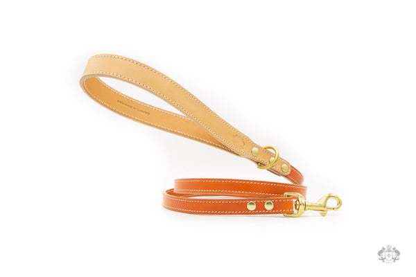 Sunset Orange Leather Dog Leash front view
