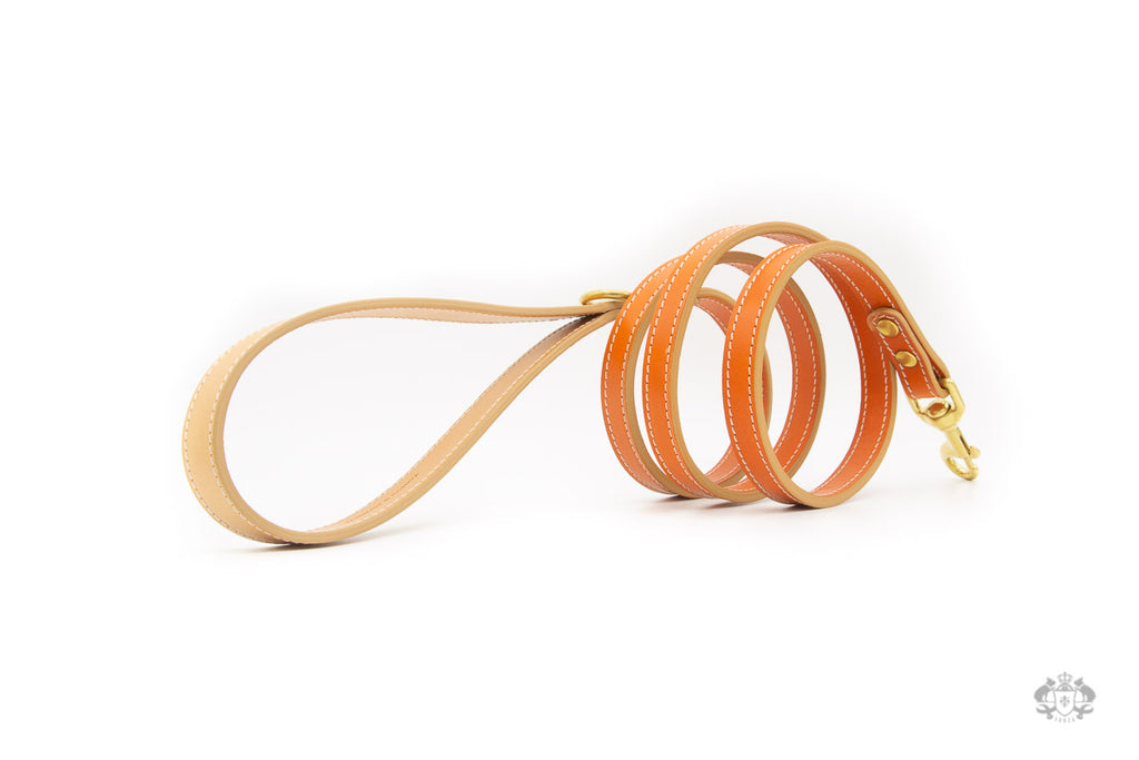 Sunset Orange Leather Dog Leash side view