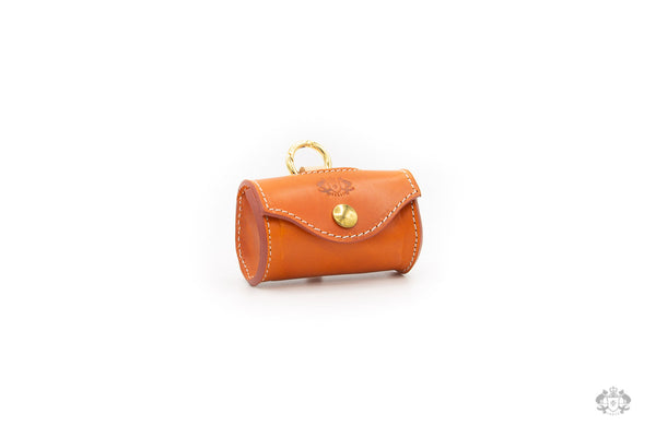 Sunset Orange Leather Poop Bag Holder front view