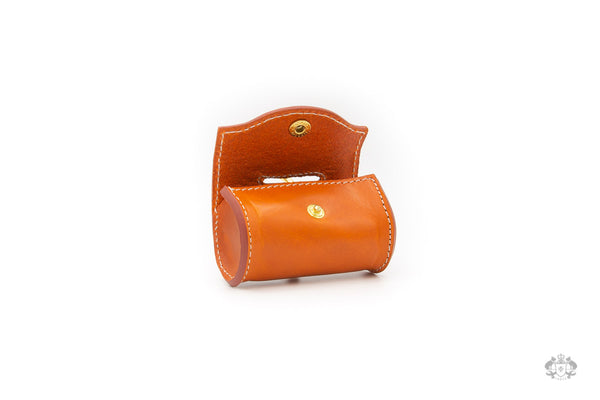 Sunset Orange Leather Poop Bag Holder open view