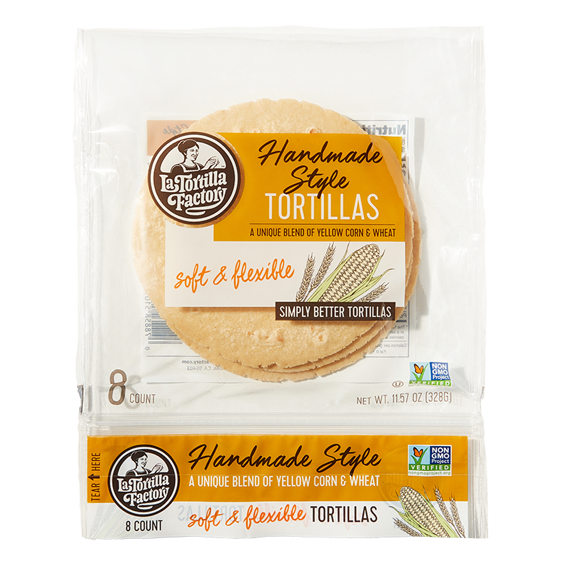 Handmade Style Yellow Corn & Wheat Tortillas - 6 packages