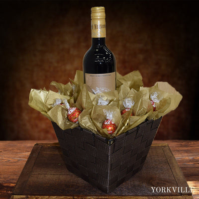 Wine & Lindor Truffles Gift Basket Chocolates Delivery