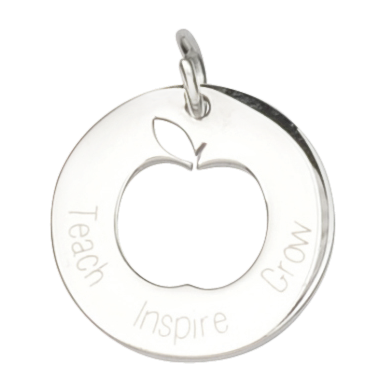 TEACH GROW INSPIRE SILVER TEACHER CHARM