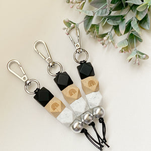 Black White Rainbow wood keyring