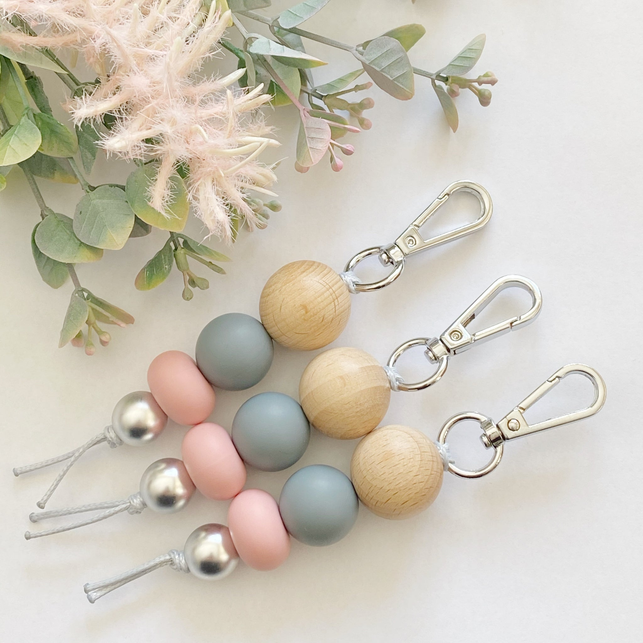 Wood Vintage Blush Grey keyring