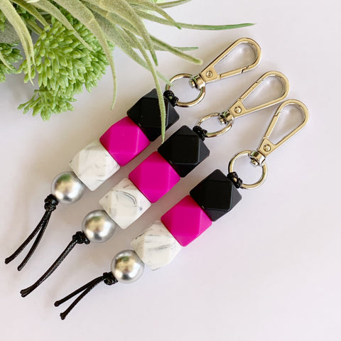Black Hot Pink Keyring