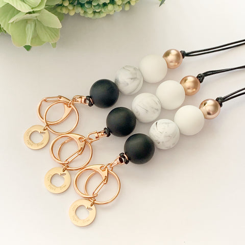 Black & Marble Rose Gold Teacher Charm Lanyard