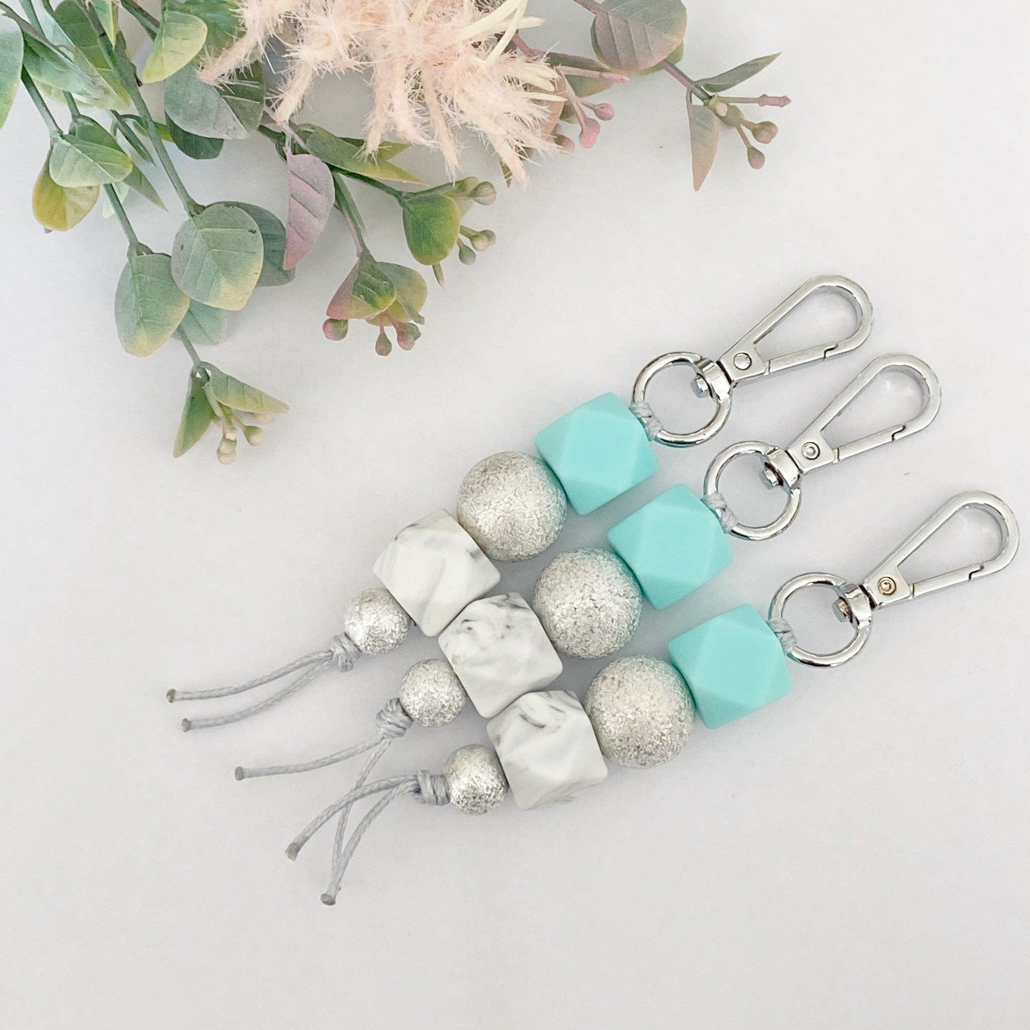 Bright mint silver sparkle keyring
