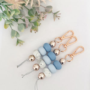 Blue & Rose gold keyring