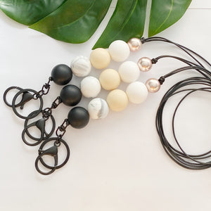 Black cream marble Lanyard