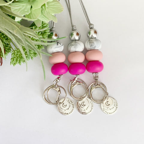Pink & Marble I love you Charm Keyring