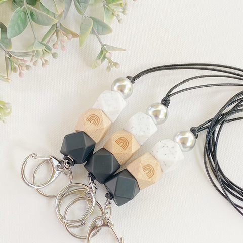 Black White Rainbow Wood Lanyard