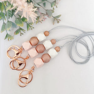 Pink Rose gold sparkle Lanyard