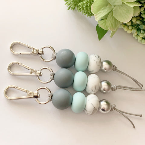 Grey & Sea Glass Keyring